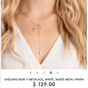 LIFELONG BOW Y NECKLACE, WHITE, MIXED METAL FINISH